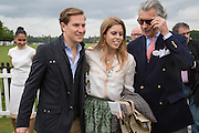 DAVE CLARKE; PRINCESS BEATRICE; ARNAUD BAMBERGER, Cartier Queen's Cup final at Guards Polo Club, Windsor Great Park. 16 June 2013