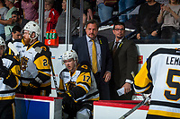REGINA, SK - MAY 25: Head Coach John Gruden and associate coach Dave Matsos stand on the bench after the loss against the Regina Pats at the Brandt Centre on May 25, 2018 in Regina, Canada. (Photo by Marissa Baecker/CHL Images)