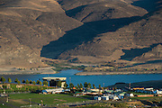 Aerial view over Ancient Lakes AVA vineyards near Quincy, central Washington
