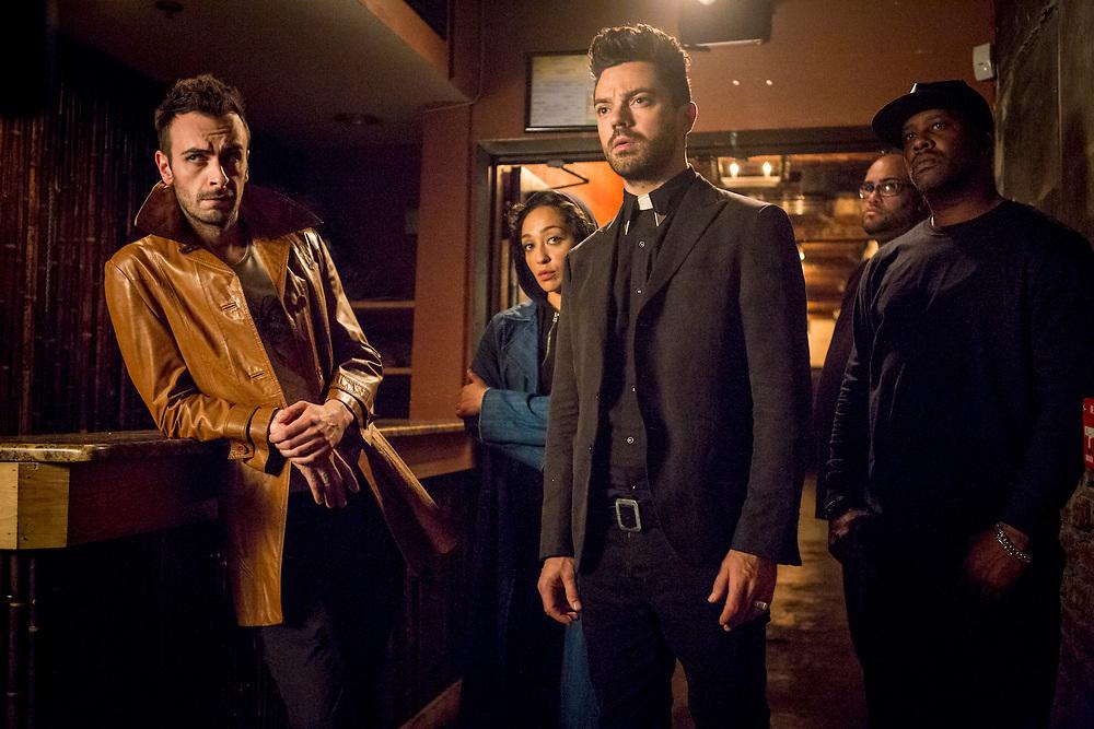 Joseph Gilgun as Cassidy, Ruth Negga as Tulip O'Hare, Dominic Cooper as Jesse Custer - Preacher _ Season 2, Episode 3 - Photo Credit: Skip Bolen/AMC/Sony Pictures Television