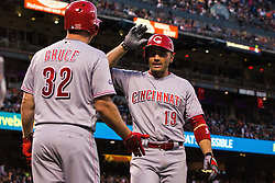 SAN FRANCISCO, CA - JULY 26: Joey Votto #19 of the Cincinnati Reds is congratulated by Jay Bruce #32 after hitting a home run against the San Francisco Giants during the fourth inning at AT&T Park on July 26, 2016 in San Francisco, California.  (Photo by Jason O. Watson/Getty Images) *** Local Caption *** Joey Votto; Jay Bruce