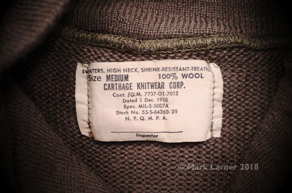 Picture shows a US Army 5 Button Sweater, dated 01/12/1950, made by Carthage Knitwear Corps.<br /> <br /> See review at www.new-utility.co.uk<br /> <br /> Credit should read: Picture by Mark Larner<br /> <br /> NO UNAUTHORISED USAGE