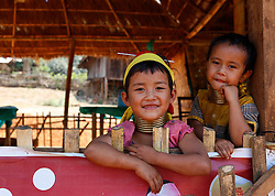Padaung children with brass rings around their necks sit at a gift shop in Panpet Village, Demoso Township, Kayah State, Myanmar, April 11, 2016. The brass rings are first applied when the Padaung girls are about eight years old and as the girl grows older, longer coils are added up to 24 or 25 rings. EXPA Pictures © 2016, PhotoCredit: EXPA/ Photoshot/ U Aung<br /> <br /> *****ATTENTION - for AUT, SLO, CRO, SRB, BIH, MAZ, SUI only*****