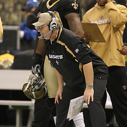 Jan 24, 2010; New Orleans, LA, USA; New Orleans Saints defensive coordinator Gregg Williams watches from the sideline during a 31-28 overtime victory by the New Orleans Saints over the Minnesota Vikings in the 2010 NFC Championship game at the Louisiana Superdome. Mandatory Credit: Derick E. Hingle-US PRESSWIRE
