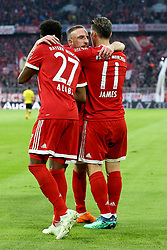 31.03.2018, Allianz Arena, Muenchen, GER, 1. FBL, FC Bayern Muenchen vs Borussia Dortmund, 28. Runde, im Bild David Alaba (FC Bayern Muenchen #27) Franck Ribery (FC Bayern Muenchen #7) James Rodriguez (FC Bayern Muenchen #11) // during the German Bundesliga 28th round match between FC Bayern Munich and Borussia Dortmund at the Allianz Arena in Muenchen, Germany on 2018/03/31. EXPA Pictures © 2018, PhotoCredit: EXPA/ Eibner-Pressefoto/ Harry Langer<br /> <br /> *****ATTENTION - OUT of GER*****