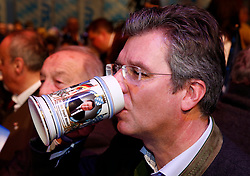 06.03.2019, Dreiländerhalle, Passau, GER, Politischer Aschermittwoch der CSU, im Bild Franz-Josef Strauss Strauß auf einem Bierkrug // during the Political Ash Wednesday of the CSU Party at the Dreiländerhalle in Passau, Germany on 2019/03/06. EXPA Pictures © 2019, PhotoCredit: EXPA/ SM<br /> <br /> *****ATTENTION - OUT of GER*****
