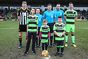 Mascots and officials during the EFL Sky Bet League 2 match between Forest Green Rovers and Notts County at the New Lawn, Forest Green, United Kingdom on 9 February 2019.