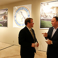 Thomas Wells | BUY at PHOTOS.DJOURNAL.COM<br /> Tupelo Mayor Jason Shelton, left, and Jay Quimby have a quick chat following the groundbreaking ceremony for the new Tupelo-Lee Human Societty building on Tuesday.