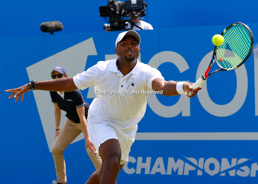 June 21st 2017, Queens Club, West Kensington, London; Aegon Tennis Championships, Day 3; Donald Young (USA) hits a forehand during his second round match against Viktor Troicki (SRB)