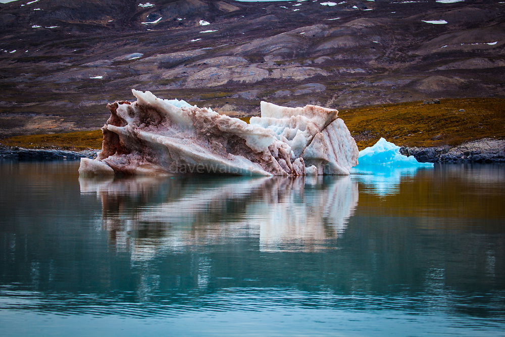 Dirty Iceberg, containg mud and organic matter in Kongsfjord, Ny Alesund, Svalbard