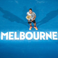 Roger Federer of Switzerland after the men's final on day fourteen of the 2017 Australian Open at Melbourne Park on January 29, 2017 in Melbourne, Australia.<br /> (Ben Solomon/Tennis Australia)