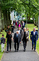 21/07/2018 repro free: President Michael D. Higgins  at the First Thought Talks strand at Galway International Arts Festival on Saturday July 21 in the Bailey Allen Hall in NUI Galway. The President launched this year&rsquo;s talks series with a reflection on the theme of home, which is the main theme of the talks. <br /> Afterwards he me with Harry and Johnny Donnelly, OPeratoina Manager at GIAF and Artistic Director Paul Fahy and Chief Executive John Crumlish.<br /> The First Thought Talks programme at GIAF features a series of interviews, conversations and debate which will examine the theme of home, curated by historian and archivist Catriona Crowe. First Thought Talks 2018 features 18 talks from academics, activists, architects, reporters, poets and writers with 43 participants including President Michael D. Higgins, Catherine Corless, Andrew O&rsquo;Hagan, John Lanchester, Sarah Hickson, Liz Fekete, Roy Foster, Tomi Reichental, Mitchell Joachim, Paula Meehan, Lucy McDiarmid and Diarmuid Ferriter amongst an extensive number of leading international voices and journalists from around the world. For more see www.giaf.ie<br /> Pictures: Andrew Downes/Xposure