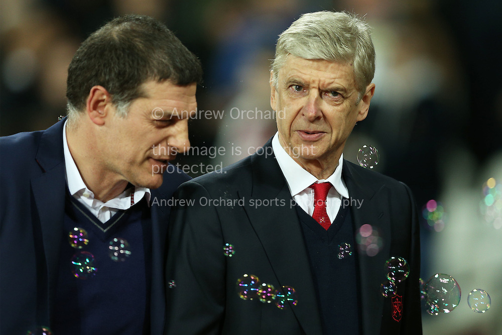 Arsene Wenger, the Arsenal manager talking to Slaven Bilic, West Ham United manager before k/o. Premier league match, West Ham Utd v Arsenal at the London Stadium, Queen Elizabeth Olympic Park in London on Saturday 3rd December 2016.<br /> pic by John Patrick Fletcher, Andrew Orchard sports photography.