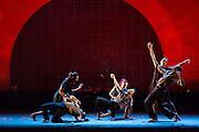 """People dying in Barak Marshall's """"Harry"""", performed by Les Ballets Jazz de Montréal."""