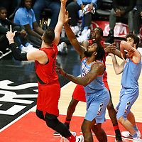 18 March 2018: Portland Trail Blazers center Jusuf Nurkic (27) goes for the layup past LA Clippers center DeAndre Jordan (6) during the Portland Trail Blazers 122-109 victory over the LA Clippers, at the Staples Center, Los Angeles, California, USA.