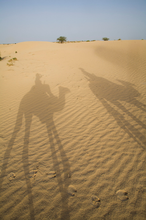 Shadow of tourists riding camels in the desert around Timbuktu, in Mali.
