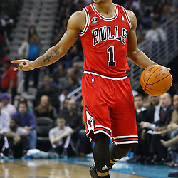 February 12, 2011; New Orleans, LA, USA; Chicago Bulls point guard Derrick Rose (1) against the New Orleans Hornets during the first quarter at the New Orleans Arena.   Mandatory Credit: Derick E. Hingle