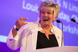 © Licensed to London News Pictures . 25/09/2015 . Doncaster , UK . JUDITH MORRIS at the 2015 UKIP Party Conference at Doncaster Racecourse , this morning (Friday 25th September 2015) . Photo credit : Joel Goodman/LNP
