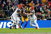 LA Rams Wide Receiver Robert Woods (17) is tackled during the International Series match between Los Angeles Rams and Cincinnati Bengals at Wembley Stadium, London, England on 27 October 2019.