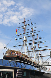 © Licensed to London News Pictures. 04/07/2018<br /> Greenwich, UK.<br /> Dangerous job.<br /> Workmen look to be cleaning the rigging on the Cutty Sark in Greenwich,London.<br /> Photo credit: Grant Falvey/LNP