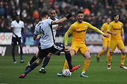 Bolton Wanderers Defender, Dorian Dervite (4) and Bolton Wanderers Defender, David Wheater (31) battles for possession  during the EFL Sky Bet Championship match between Bolton Wanderers and Preston North End at the Macron Stadium, Bolton, England on 3 March 2018. Picture by Mark Pollitt.