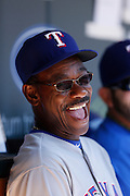 MINNEAPOLIS, MN - APRIL 14: Texas Rangers manager Ron Washington gets in a laugh before the game against the Minnesota Twins at Target Field on April 14, 2012 in Minneapolis, Minnesota. (Photo by Joe Robbins)