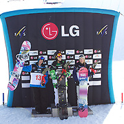 Ladies Half Pipe finals winners, Xeutong Cai, China, (centre) first Place. Holly Crawford, Australia, (left) second place. Ursina Haller, Switzerland, (right) third place, during the Half Pipe Finals in the LG Snowboard FIS World Cup, during the Winter Games at Cardrona, Wanaka, New Zealand, 28th August 2011. Photo Tim Clayton...