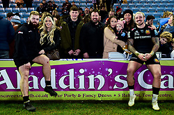 Luke Cowan-Dickie of Exeter Chiefs and Jack Nowell of Exeter Chiefs with their families after the final whistle of the match - Mandatory by-line: Ryan Hiscott/JMP - 29/12/2019 - RUGBY - Sandy Park - Exeter, England - Exeter Chiefs v Saracens - Gallagher Premiership Rugby