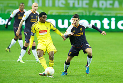 MOSCOW, RUSSIA - Thursday, November 8, 2012: Liverpool's Daniel Pacheco in action against FC Anji Makhachkala's Samuel Eto'o during the UEFA Europa League Group A match at the Lokomotiv Stadium. (Pic by David Rawcliffe/Propaganda)