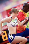 Libby Clegg of Great Britain in The Bird's Nest National Stadium competeing in the women's 200 metre T12  heats at the Paralympic games, Beijing, China. 15th September 2008