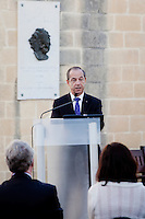 VALLETTA, MALTA - JUNE 19: Malta Prime Minister Lawrence Gonzi gives a speech at the EASO (European Asylum Support Office) inauguration at the Upper Barrakka Gardens in Valletta, Malta, on June 19, 2011. EASO, the European Asylum Support Office, was inaugurated by Prime Minister Lawrence Gonzi and European Home Affairs Commissioner Cecilia Malmström at the Upper Barrakka Gardens,Valletta.<br /> The EASO is a regulatory agency set up to improve the implementation of the Common European Asylum System, develop practical cooperation among member states on asylum, and support member states experiencing particular pressure on their asylum systems. Malta lobbied hard to make it the first EU agency based on its shores.