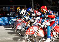 13.03.2016, Assen, BEL, FIM Eisspeedway Gladiators, Assen, im Bild Der Start Dmitry Khomitsevich (RUS), Daniil Ivanov (RUS), Igor Kononov(RUS), Guenther Bauer (GER) // during the Astana Expo FIM Ice Speedway Gladiators World Championship in Assen, Belgium on 2016/03/13. EXPA Pictures &copy; 2016, PhotoCredit: EXPA/ Eibner-Pressefoto/ Stiefel<br /> <br /> *****ATTENTION - OUT of GER*****