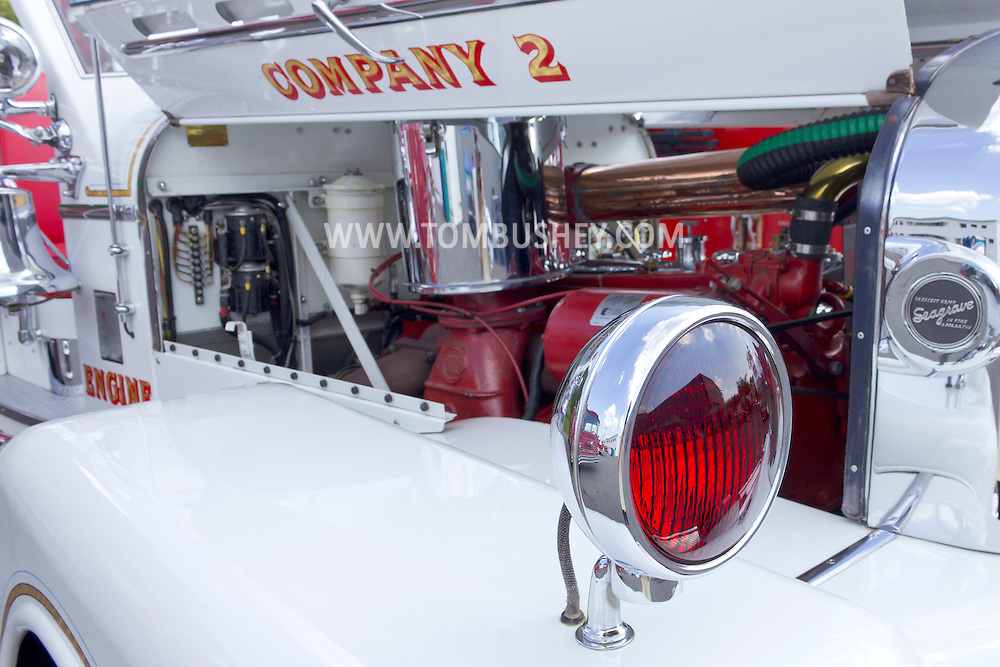 Circleville, New York - The red light and engine of an antique fire truck on display at the Catskill Fire Cats 36th Annual Muster on Aug. 4, 2012.