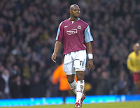 Photo: Olly Greenwood.<br />West Ham United v Watford. The Barclays Premiership. 10/02/2007. West Ham's Marlon Harewood looks dejected at the end of the game