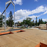 Canada, Edmonton. July/30/2013. McKernan Community League building renovation project. Roof framing and ibeam construction.