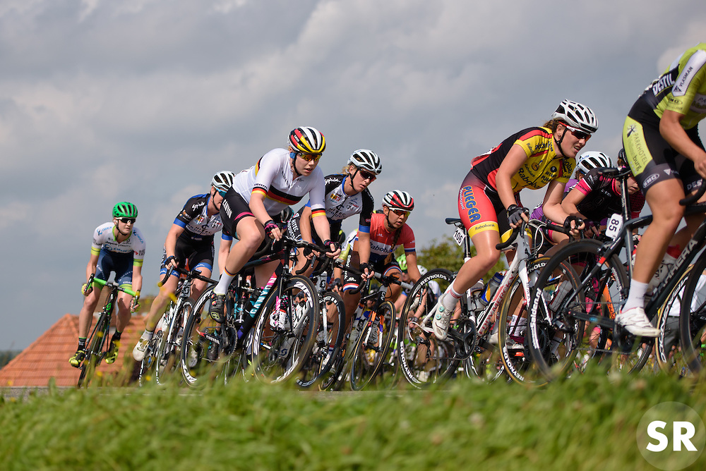 Mieke Kröger (CANYON//SRAM Racing) heads onto the dike at the 116 km Stage 5 of the Boels Ladies Tour 2016 on 3rd September 2016 in Tiel, Netherlands. (Photo by Sean Robinson/Velofocus).