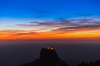 sunset over high sacred place of Mount Popa Myanmar (Burma)
