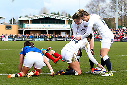 Jess Breach of England Women celebrates with teammates after scoring a try - Mandatory by-line: Robbie Stephenson/JMP - 10/02/2019 - RUGBY - Castle Park - Doncaster, England - England Women v France Women - Women's Six Nations