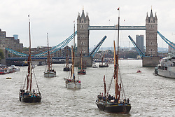 © Licensed to London News Pictures. 16/09/2017. London, UK. Almost a dozen historic sailing barges have passed under Tower Bridge in a special parade. The iconic vessels once plied their trade on the river and now are mostly seen at barge match races in the summer and on private charters. Photo credit : Rob Powell/LNP