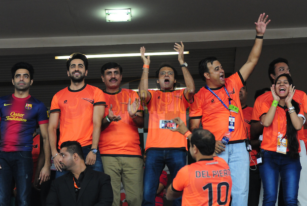Actor Ayushmann Khurrana 2(L)during match 16 of the Hero Indian Super League between The Delhi Dynamos FC and NorthEast United FC held at the Jawaharlal Nehru Stadium, Delhi, India on the 29th October 2014.<br /> <br /> Photo by:  Arjun Panwar/ ISL/ SPORTZPICS