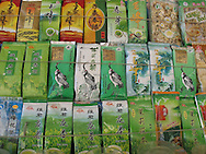 Pre-packaged tea at a market in Tibet