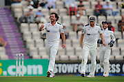 Ryan Sidebottom of Yorkshire celebrates taking the wicket of Tom Alsop of Hampshire during the Specsavers County Champ Div 1 match between Hampshire County Cricket Club and Yorkshire County Cricket Club at the Ageas Bowl, Southampton, United Kingdom on 1 September 2016. Photo by Graham Hunt.