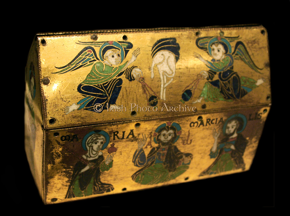 Chasse of Champagnat.  Champleve enamel on gilded copper.  French, Limoges, from the Church of Sains-Martial, Champagnat.  Made about 1150.