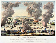 The Battle of Marengo, 14 June 1800. French forces under Napoleon defeated Austrians.  Coloured lithograph.