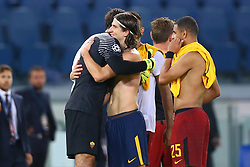 September 12, 2017 - Rome, Italy - Uefa Champions League: Group C Roma v Atletico de Madrid .Brazilians Alisson Becker of Roma, Filipe Luis of Atletico and Bruno Peres of Roma at the end of the match at Olimpico Stadium in Rome, Italy on September 12, 2017. (Credit Image: © Matteo Ciambelli/NurPhoto via ZUMA Press)
