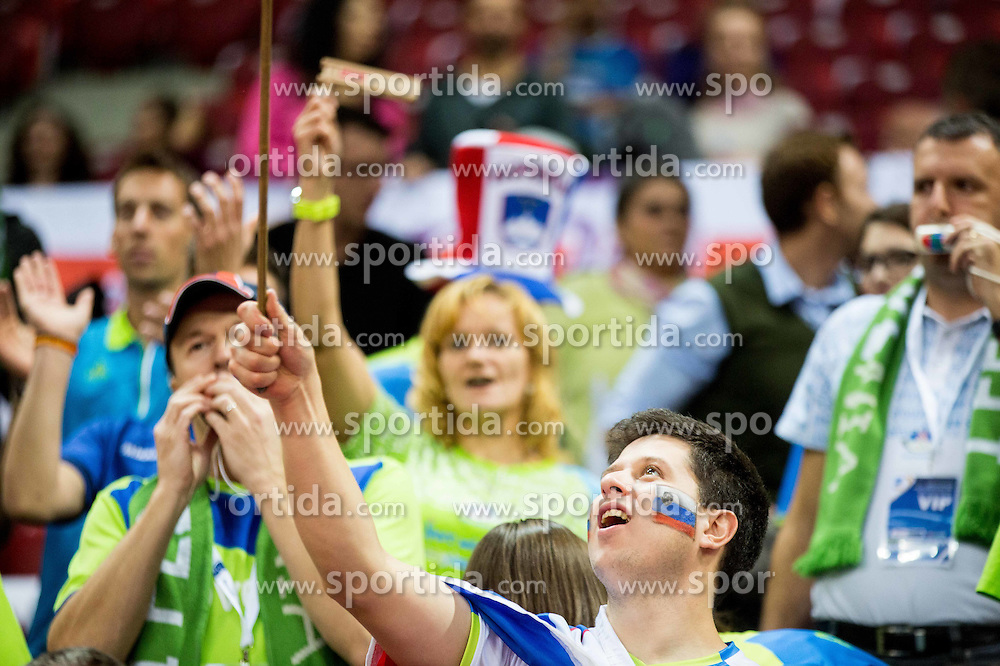 Supporters of Slovenia during volleyball match between National teams of Slovenia and Italy in 1st Semifinal of 2015 CEV Volleyball European Championship - Men, on October 17, 2015 in Arena Armeec, Sofia, Bulgaria. Photo by Vid Ponikvar / Sportida