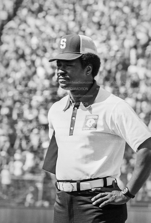COLLEGE FOOTBALL: Coach Willie Shaw of Stanford is seen on the sidelines during the Stanford vs San Jose State game played on September 28, 1974 at Stanford Stadium in Palo Alto, California.  BW R0411 #11