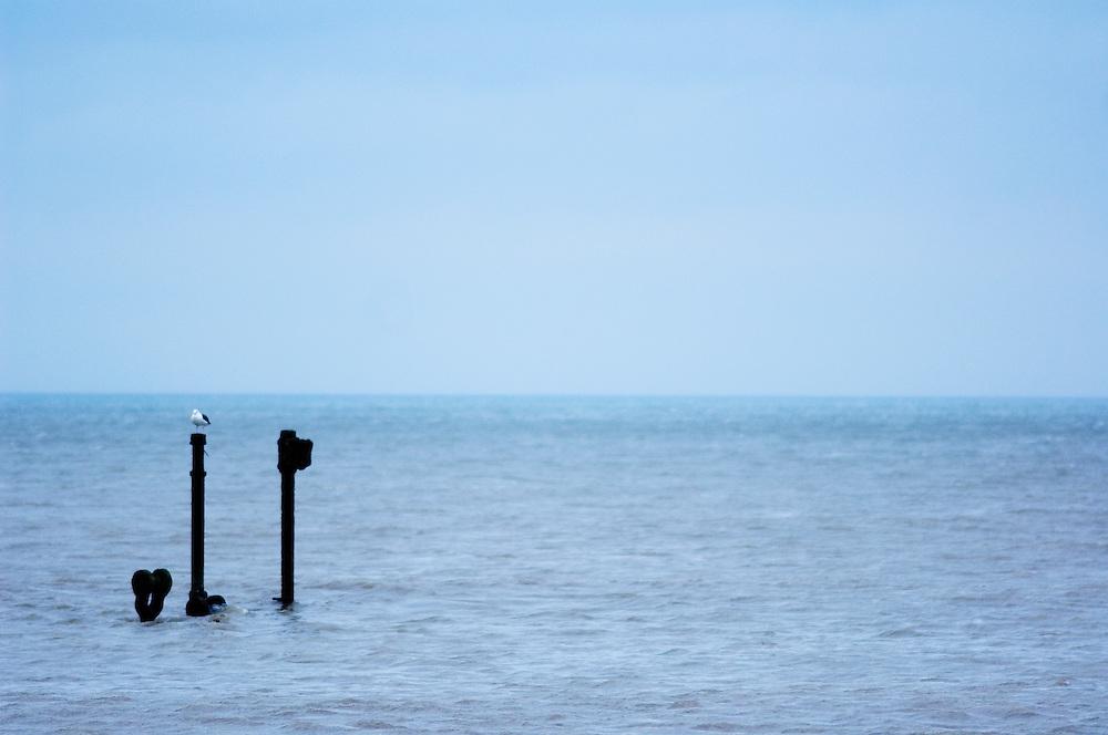 Boat wreck at Cley Eye, North Norfolk Coast, England, UK.