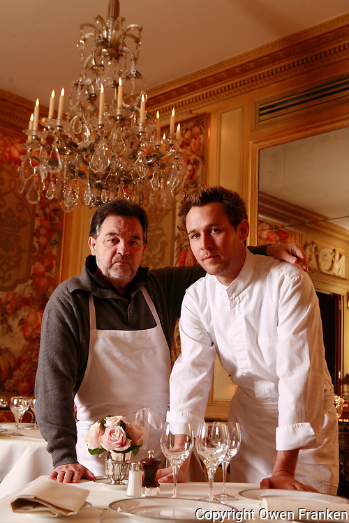 Bernard PACAUD and Matthieu , his son..Bernard Pacaud is the chef and owner of l'Ambroisie, the three star (Michelin) restaurant in the Place des Vosges, Paris