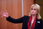 "© Licensed to London News Pictures. 04/03/2013. Heathrow, UK Joanna Lumley - Expedition Trustee. Explorer Sir Ranulph Fiennes returns to the UK after pulling out of ""The Coldest Journey"" Expedition to the Antarctic at winter due to frostbite. The Coldest Journey Press Conference today 4th March 2013 at Heathrow Airport. Photo credit : Stephen Simpson/LNP"